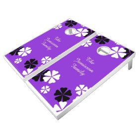 Personalized Beanbag Toss Purple Floral Lawn Game Cornhole Sets