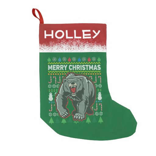 Personalized Bear Wildlife Ugly Christmas Sweater Small Christmas Stocking