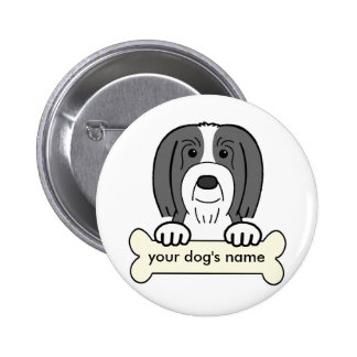 Personalized Bearded Collie Pinback Button