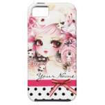 Personalized - Beautiful anime girl with bunnies iPhone 5 Cases
