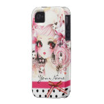 Personalized - Beautiful anime girl with bunnies iPhone 4 Case