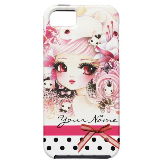 Personalized - Beautiful anime girl with bunnies iPhone SE/5/5s Case