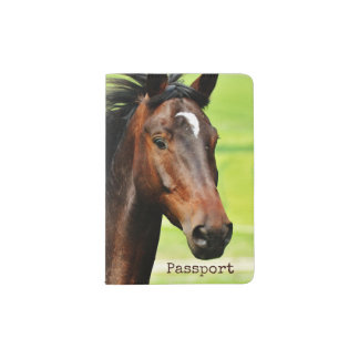 Personalized Beautiful Brown Horse Green Grass Passport Holder