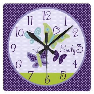 Personalized Beautiful Butterflies Nursery Clock