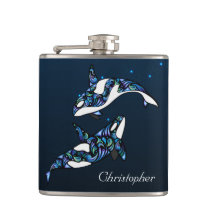 Personalized Beautiful Orca Whales Beach Wedding Flask