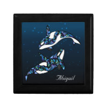 Personalized Beautiful Orca Whales Keepsake Box
