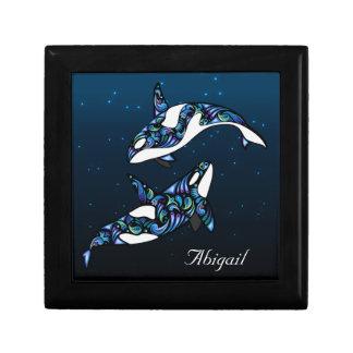 Personalized Beautiful Orca Whales Keepsake Box
