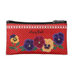 Personalized Beautiful Pansy Flowers Cosmetic Bags