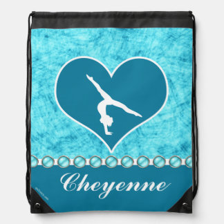 Personalized Beautiful Turquoise Gymnastics Drawstring Backpack