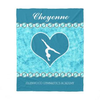 Personalized Beautiful Turquoise Gymnastics Fleece Blanket