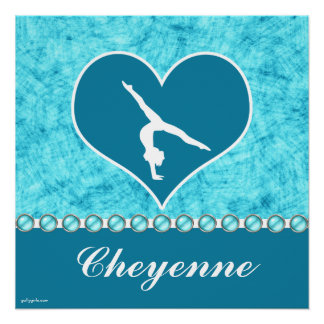 Personalized Beautiful Turquoise Gymnastics Poster