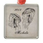 Personalized Beautiful Vintage Jellyfish Beach Metal Ornament