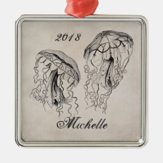 Personalized Beautiful Vintage Jellyfish Beach Metal Ornament