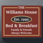 "Personalized Bed &amp; Breakfast Sign Plaque<br><div class=""desc"">This design was inspired by my parents,  they have the gift of hospitality and love to have guests.  This plaque is great for newlyweds or new homes.  Please message me if you want a certain color scheme,  I&#39;m happy to customize a design for you.</div>"
