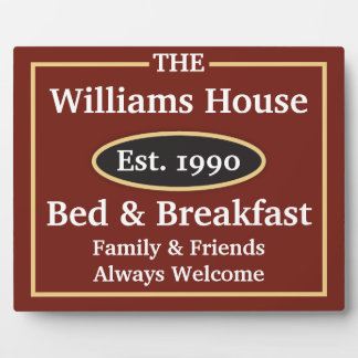 Personalized Bed & Breakfast Sign Plaque