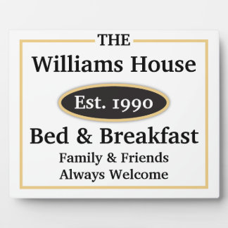 Personalized Bed & Breakfast Sign - White Plaque