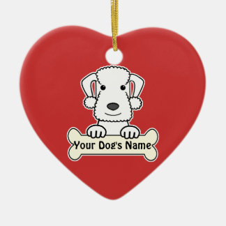 Personalized Bedlington Terrier Double-Sided Heart Ceramic Christmas Ornament