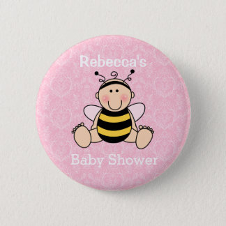 Personalized Bee Baby Shower Button