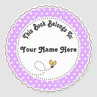 Personalized Bee Reading Bookplates Classic Round Sticker
