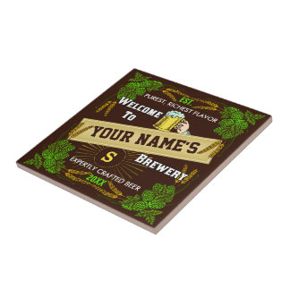 Personalized Beer Brewery Welcome with Hops Barley Ceramic Tile