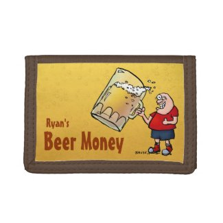 Personalized Beer Money Wallet with Fun Cartoon