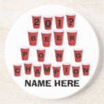 Personalized Beer Pong Champ Beverage Coaster