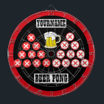 "Personalized Beer Pong Dart Board<br><div class=""desc"">A fun beer pong inspired dartboard! Perfect as an alternate to normal gameplay,  for new games of your own,  or to pair with traditional play. Features triangles of beer cup inspired targets,  customizable text,  and beer imagery. Enjoy!</div>"