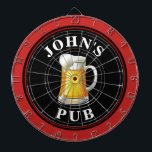 "Personalized Beer Pub Dart Board<br><div class=""desc"">A personalized dart board with a mug of beer and your name or other desired text. Simply edit the sample text with your information.</div>"