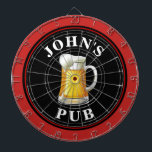 """Personalized Beer Pub Dart Board<br><div class=""""desc"""">A personalized dart board with a mug of beer and your name or other desired text. Simply edit the sample text with your information.</div>"""
