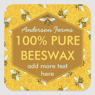Personalized Beeswax Label Bees and Honeycomb