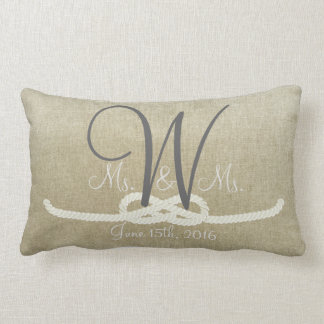 Personalized Beige Vintage Monogram Family Pillow