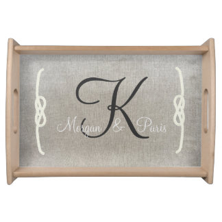 Personalized Beige Vintage Monogram Serving Tray