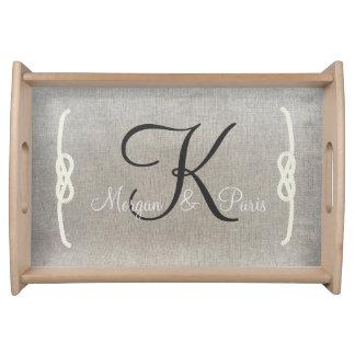 Personalized Beige Vintage Monogram Serving Tray