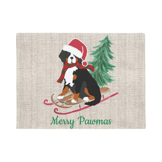 Personalized Bernese Mt Dog Christmas Sled Doormat