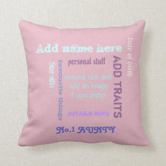 Personalized best Aunty wordcloud Throw Pillow