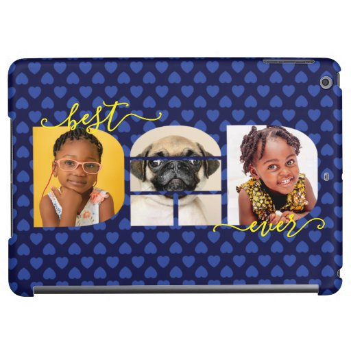 Personalized Best DAD Ever Navy Blue Photo Collage Case For iPad Air