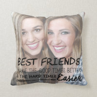 Personalized Best Friend Photo BFF Chic Friendship Throw Pillow