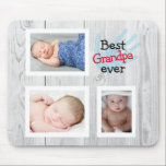 """Personalized Best Grandpa Ever  Mouse Pad<br><div class=""""desc"""">Add your favorite pictures to this cute photo collage mousepad.</div>"""