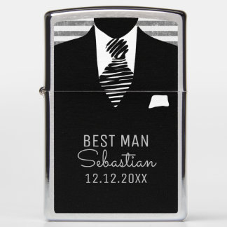 Personalized Best Man Suit and Black Tie Zippo Lighter