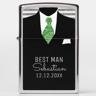 Personalized Best Man Suit and Green Tie Zippo Lighter