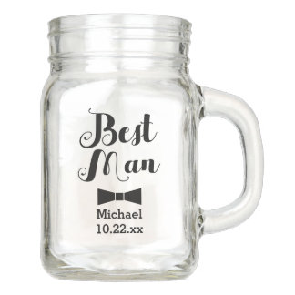 Personalized Best Man Wedding Bridal Groomsman Mason Jar