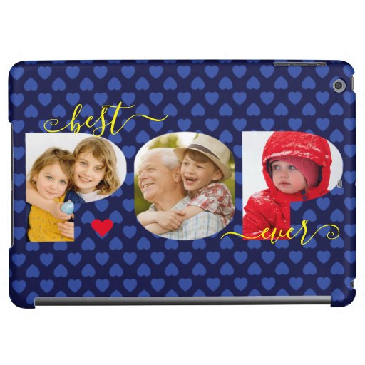Personalized Best POP Ever Navy Blue Photo Collage Case For iPad Air