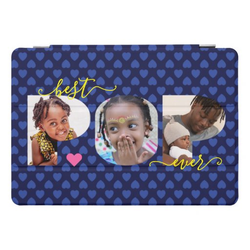 Personalized Best POP Ever Navy Blue Photo Collage iPad Pro Cover