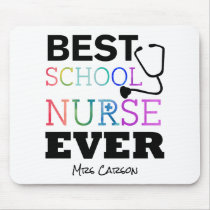 Personalized Best School Nurse Ever Colorful Desk Mouse Pad
