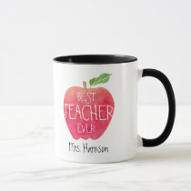 Personalized Best Teacher Ever Apple Watercolor Mug