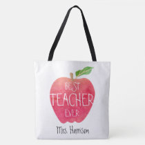 Personalized Best Teacher Ever Apple Watercolor Tote Bag