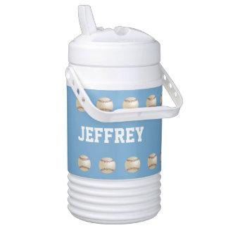Personalized Beverage Cooler Baseball Light Blue