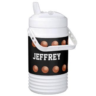 Personalized Beverage Cooler Basketball Black