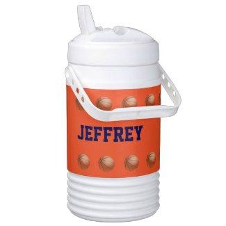 Personalized Beverage Cooler Basketball Orange