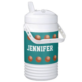 Personalized Beverage Cooler Basketball Turquoise